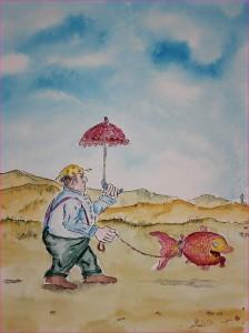 Spaziergang mit Fisch